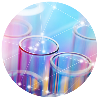 test tubes on colorful background