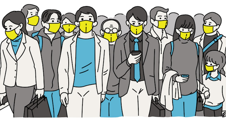 graphic of people with masks