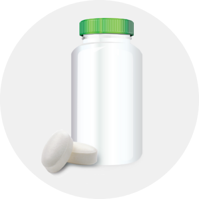 white pill bottle with green lid